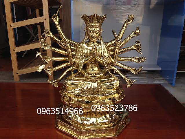 Tượng Phật Mẫu Chuẩn Đề Đồng Vàng Cao 39 cm