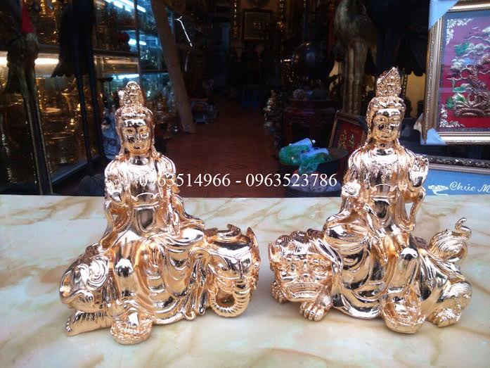 Tượng Phật Bồ Tát Văn Thù Phổ hiền mạ vàng 24 k