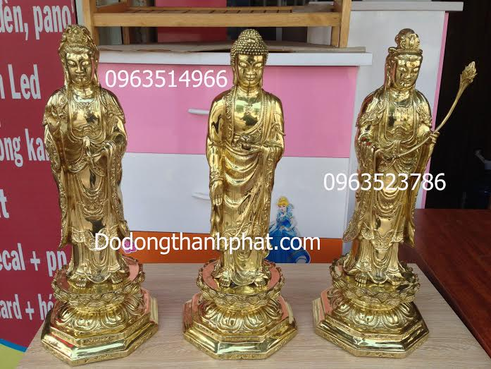 Tượng Phật Bằng Đồng Tây Phương Tam Thánh Cao 47 cm
