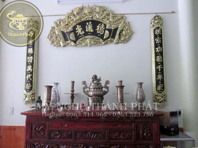 Bộ hoành phi câu đối đồng vàng - bộ đồ thờ cúng đồng cao câp