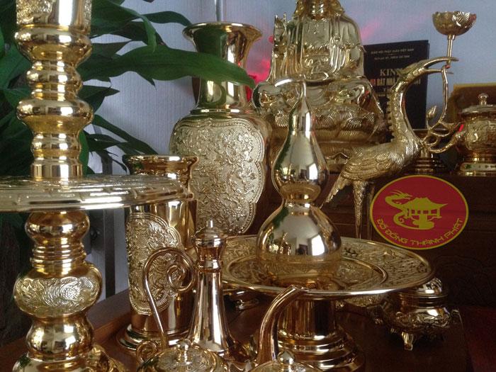 bộ đồ thờ cúng mạ vàng 24 k