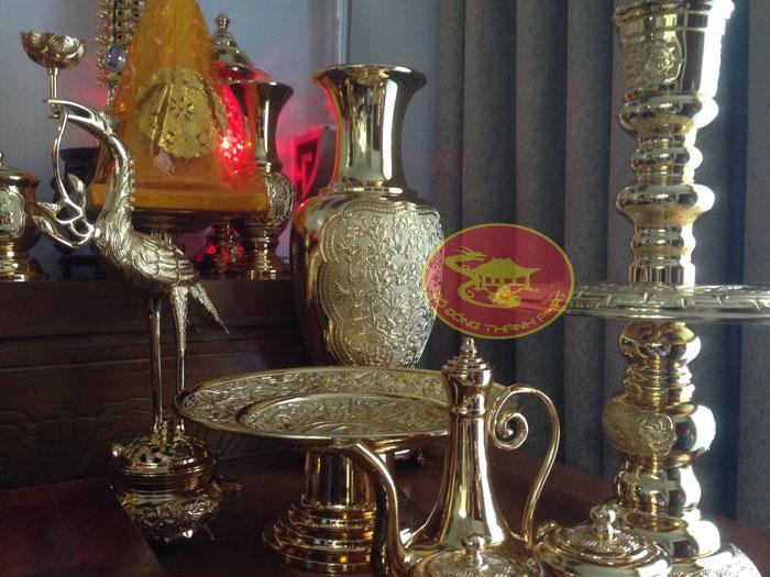 bộ đồ thờ cúng mạ vàng cao cấp