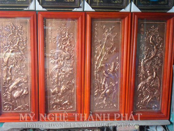Bộ tranh đồng tứ quý đồng đoe khung gỗ tự nhiên
