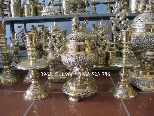 Bộ đồ thờ bằng đồng cao 50 cm đồng vàng đẹp