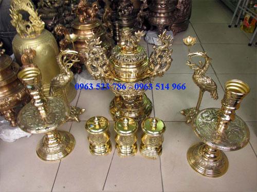 đồ thờ bằng đồng, bộ đài đồng cao 19 cm