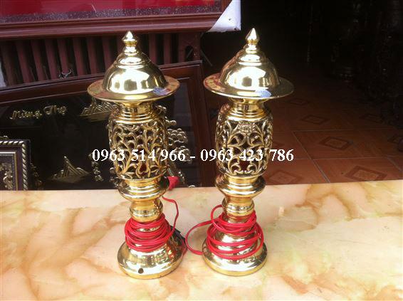 đôi đèn thờ bằng đồng cao 38 cm