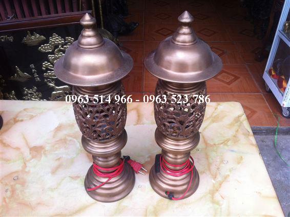 đôi đèn thờ bằng đồng quả dứa cao 38 cm