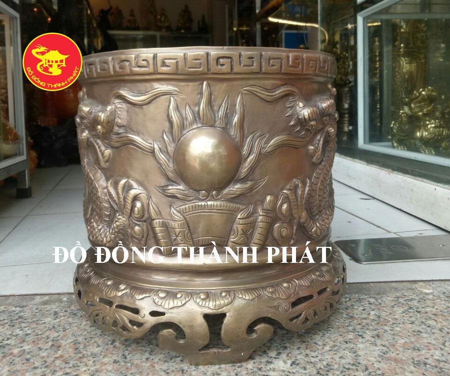 Bát Nhang Đồng Song Long Trầu Nguyệt Hun Giả cổ