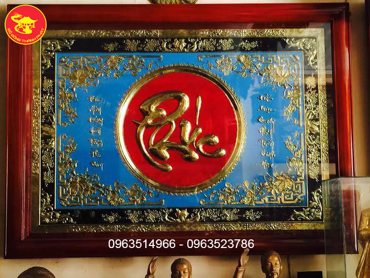 Chữ Phúc Thư Pháp Mạ vàng 24 k