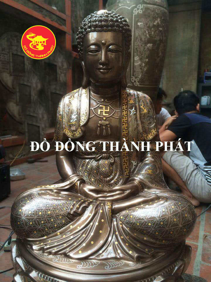 Tượng Phật Bổn Sư Chắp Ấn Khảm Ngũ Sắc Cực Đẹp