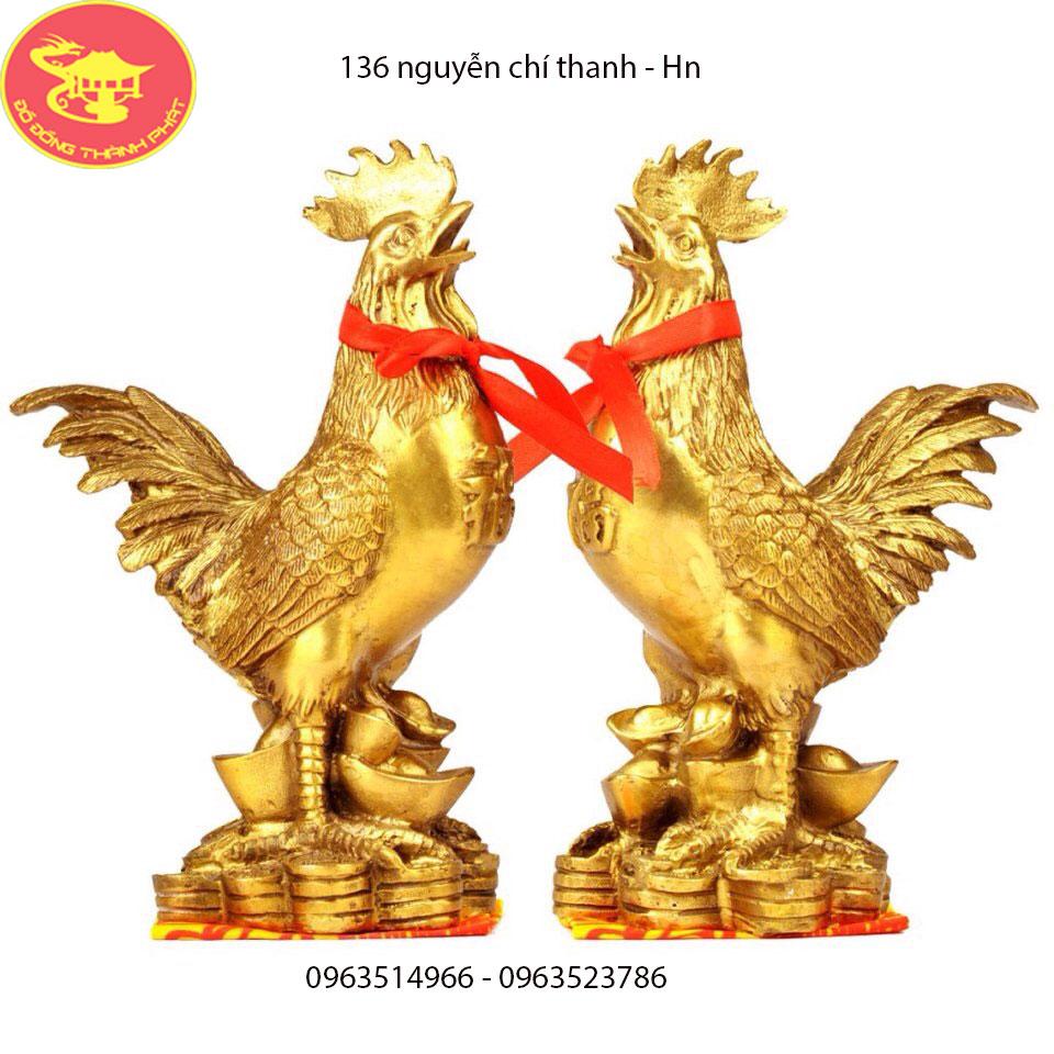 Cặp Gà Trống Bằng Đồng Mạ Vàng 24 k