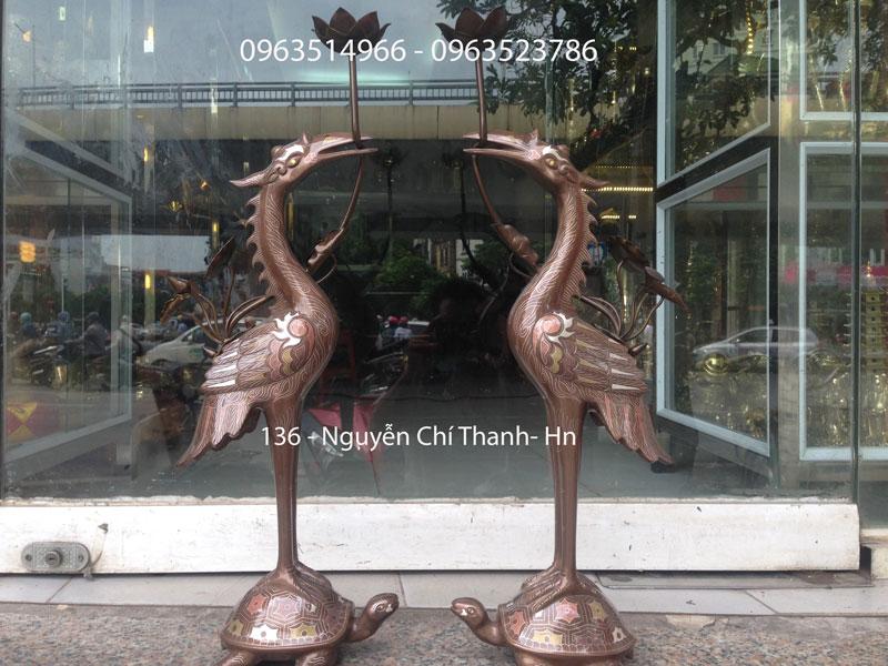 Đôi Hạc Đồng Khảm Ngũ Sắc 50 cm