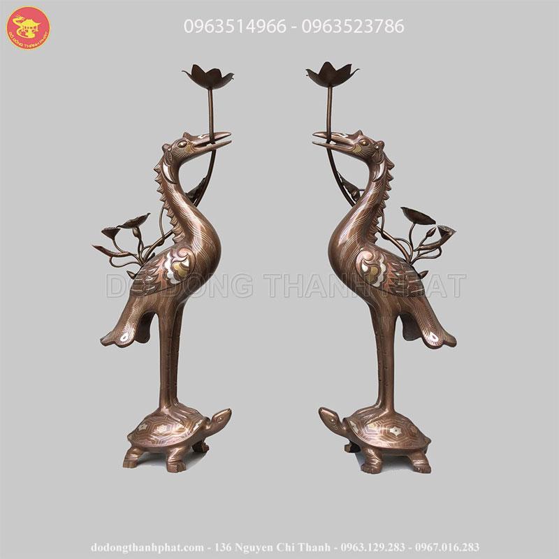Hạc Đồng Thờ Cúng Ngũ Sắc Cao 50 cm
