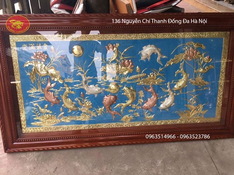 Tranh Đồng Cửu Ngư Đồng Vàng dài 2,3 m