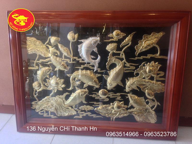 Tranh Đồng Cá Chép Bát Ngư Bằng Đồng