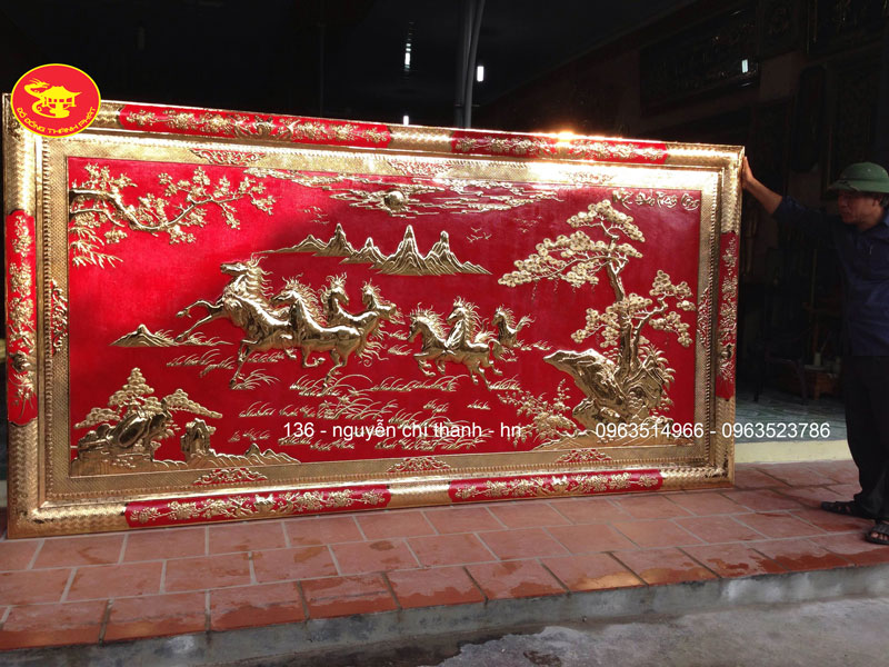 Tranh Đồng Bát Mã Thành Công Mạ Vàng 24 k