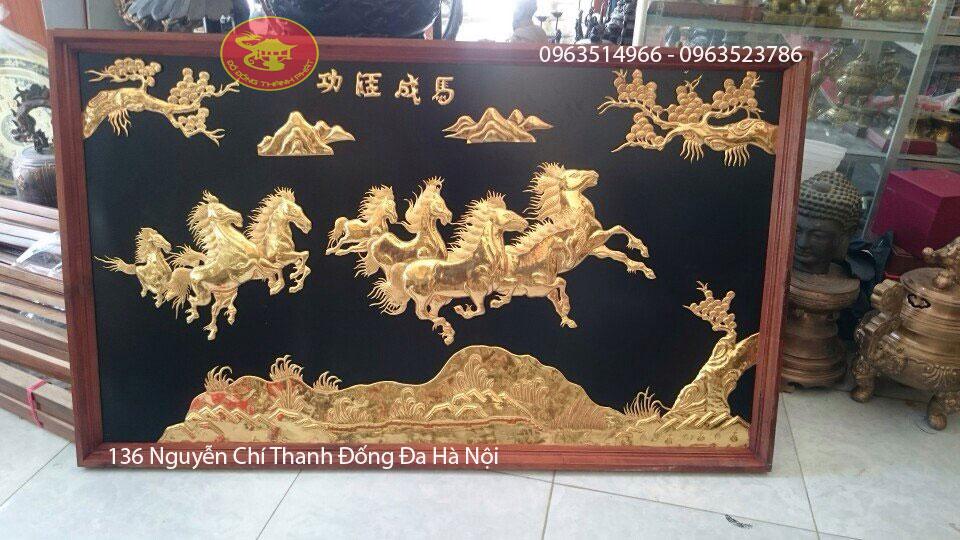 Tranh Đồng Bát Mã Thành Công Thiếp Vàng 9999
