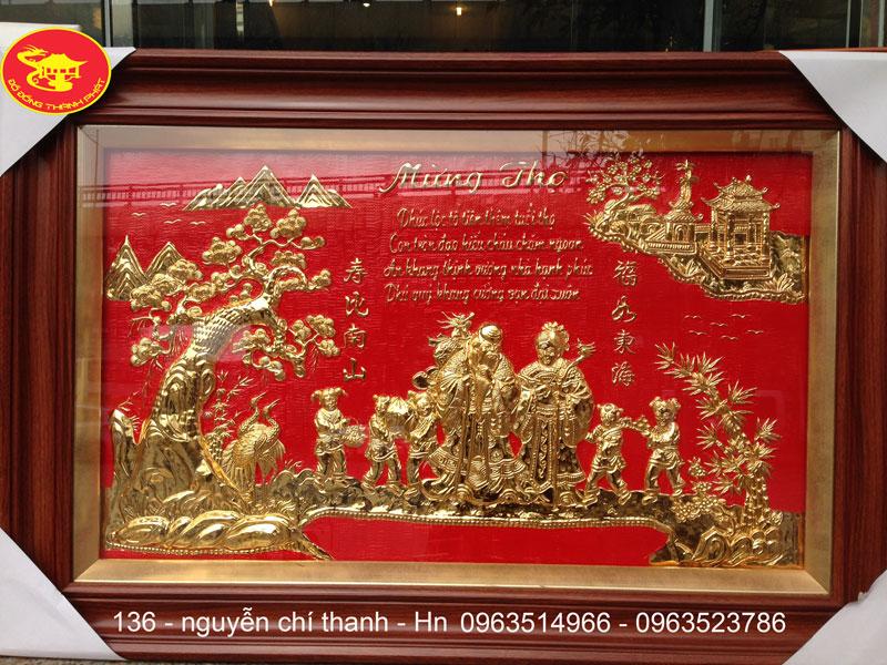 bức tranh đồng mừng thọ song cụ mạ vàng 24 k cao cấp dài 1 m rộng 70 cm