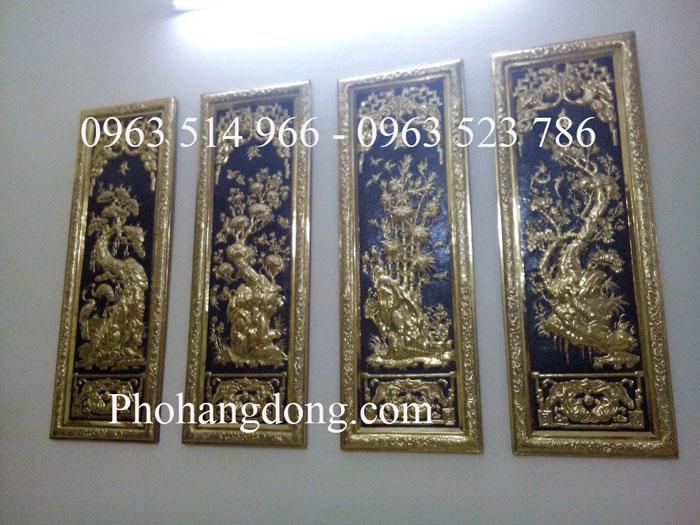 Tranh Đồng Tứ Quý Khung Đồng