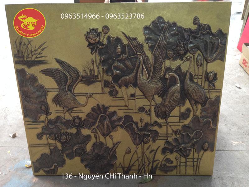 Tranh Đồng Sen Hạc Phù Điêu Nghệ Thuật