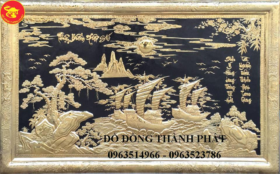 Tranh Đồng Mạ Vàng Thuận Buồn Xuôi Gió 24 k