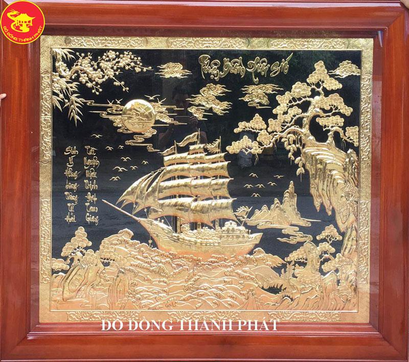 Tranh Đồng Thuận Buồn Xuôi Gió Mạ Vàng 24 k
