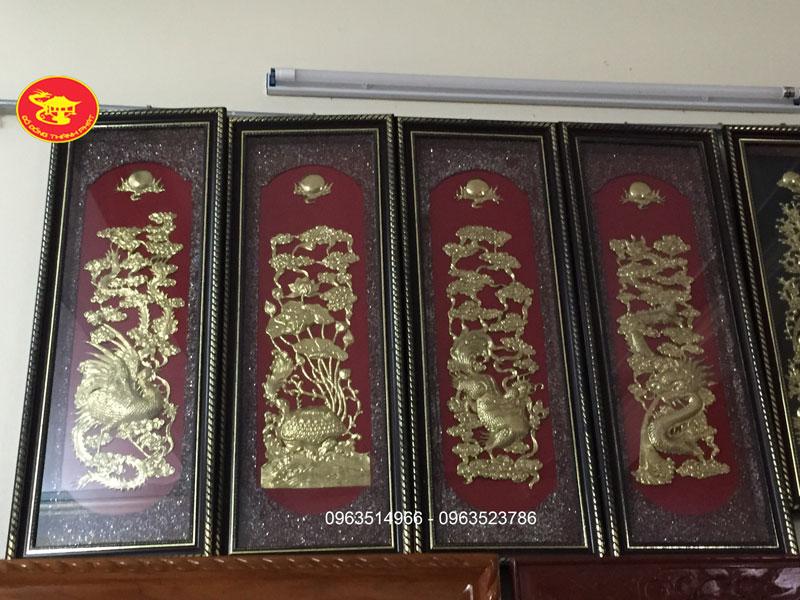 Tranh Đồng Tứ Linh ĐỒng Vàng Đẹp