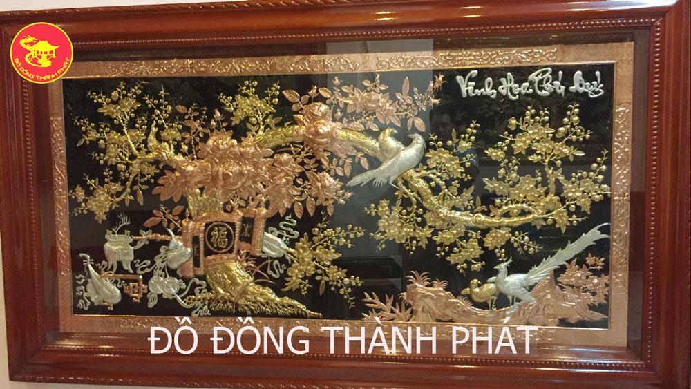 Tranh Đồng Vinh Hoa Phú Quý Tam Khí Đẹp Mạ Vàng