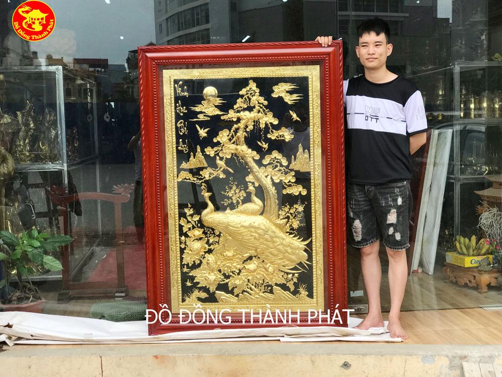 nơi bán tranh đồng vinh hoa phú quý phủ vàng ròng cực đẹp
