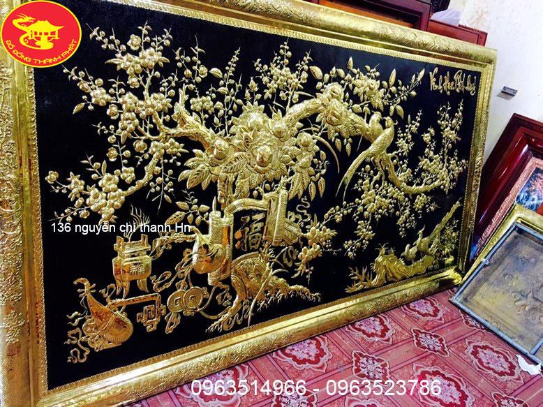 Tranh Đồng Mạ Vàng Vinh Hoa Phú Quý Mạ Vàng 24 k
