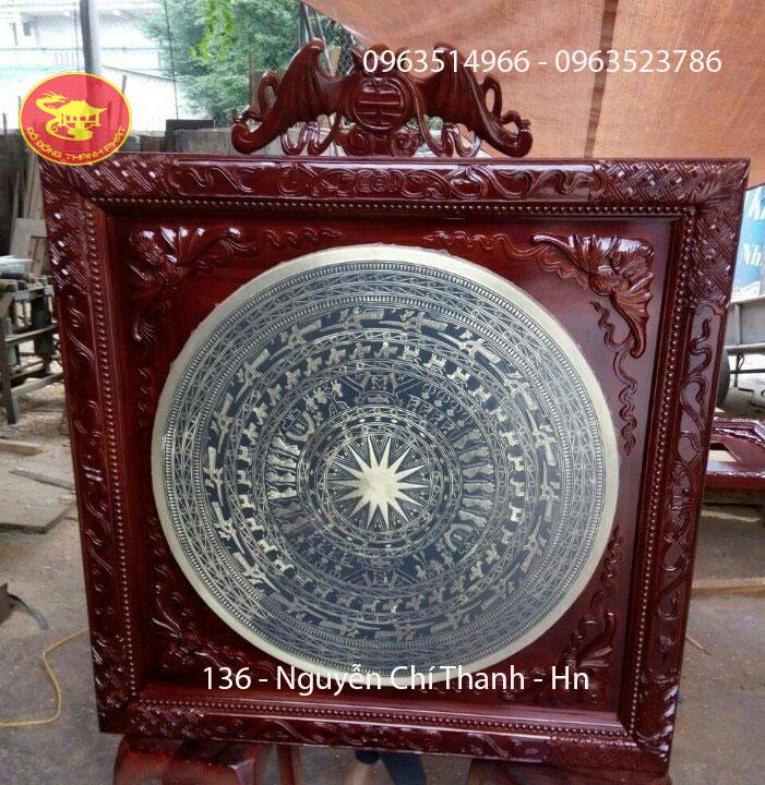Tranh Đồng Mặt Trống Đk 70 cm Khung gỗ Đẹp