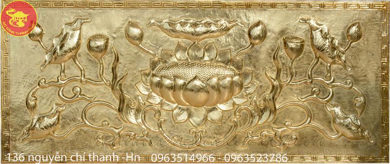 Bức Tranh Đồng Sen Phù Điêu Đồng Vàng