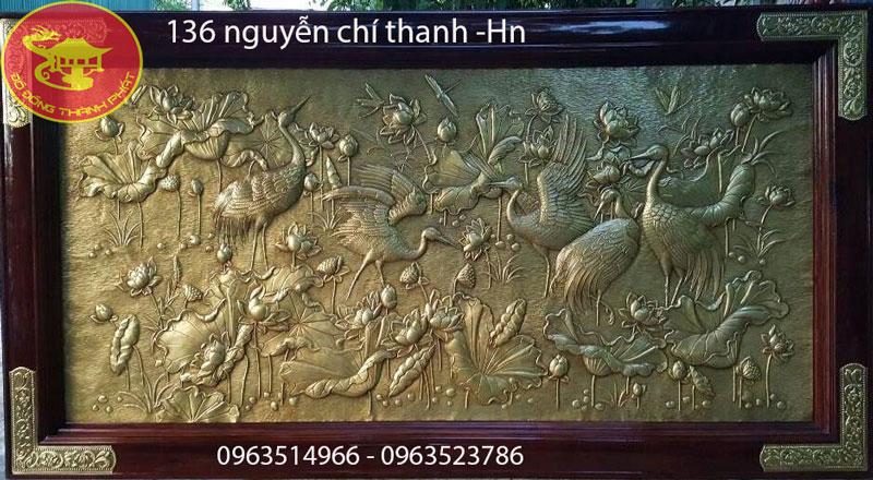 Tranh Đồng Sen Hạc Phù Điêu Khung Gỗ