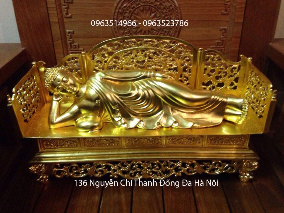 Tượng Phật Bằng Đồng Nhập Liết Bàn Dát Vàng 9999