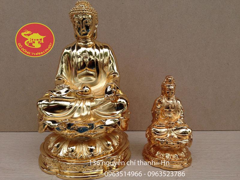 Tượng Phật A Di Đa Tiếp Dẫn Mạ Vàng 24 k