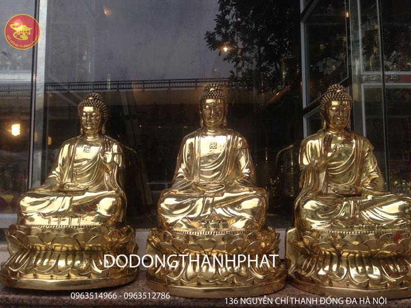 Bộ Tượng Tam Thế Phật Bằng Đồng