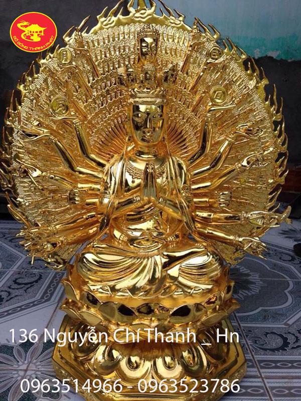 Tượng Bồ tát Thiên Thù Thiên Nhãn Mạc Vàng 24 k