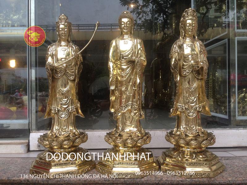 Bộ Tượng Phật Tây Phương Tam Thánh Bằng Đồng